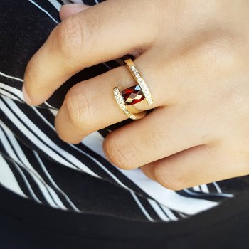 Arizona Garnet Checkerboard Cut Ring