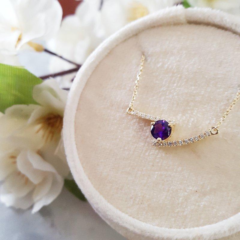 Arizona Amethyst™ Gold Jewelry Bypass Bar Pendant