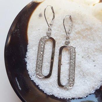 Open Cut Rectangle Diamond Earrings