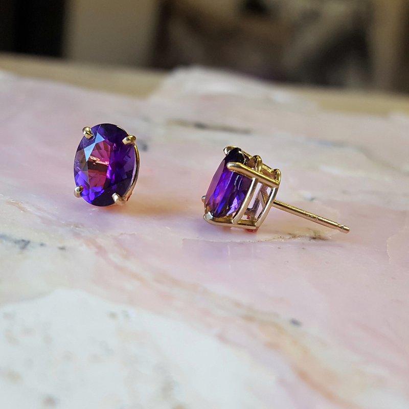 Arizona Amethyst™ Gold Jewelry Essential 1 1/3 CT Oval Earrings