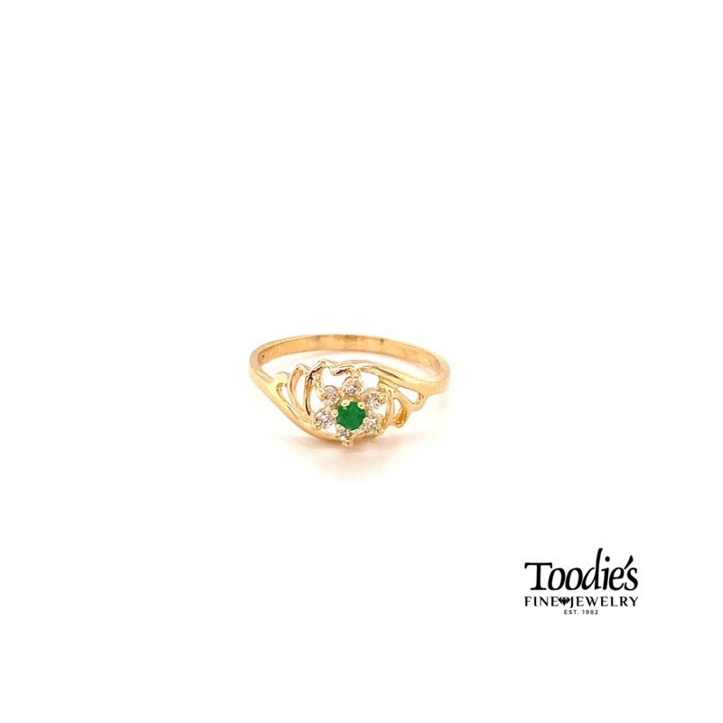 Toodie's Signature Fashion Emerald And Diamond Halo Style Ring