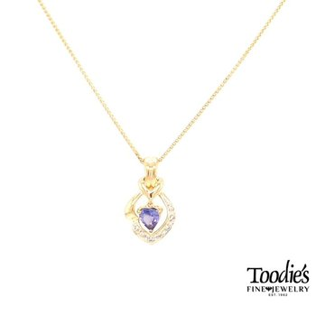 Yellow Gold Tanzanite And Diamond Necklace