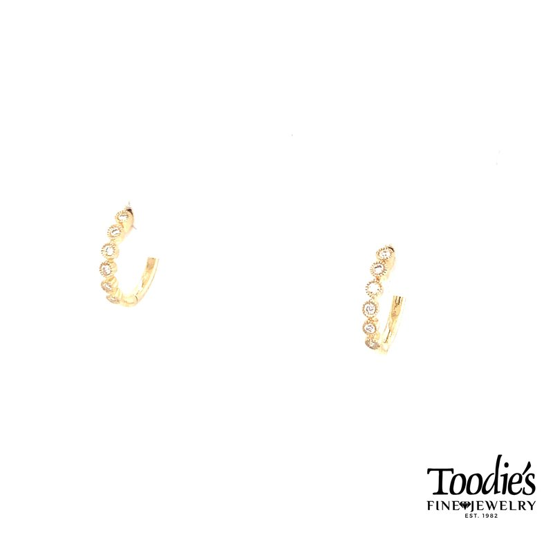 Shy Creation Diamond Bezel Set Huggie Earrings