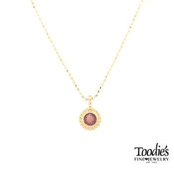Yellow Gold Garnet Necklace