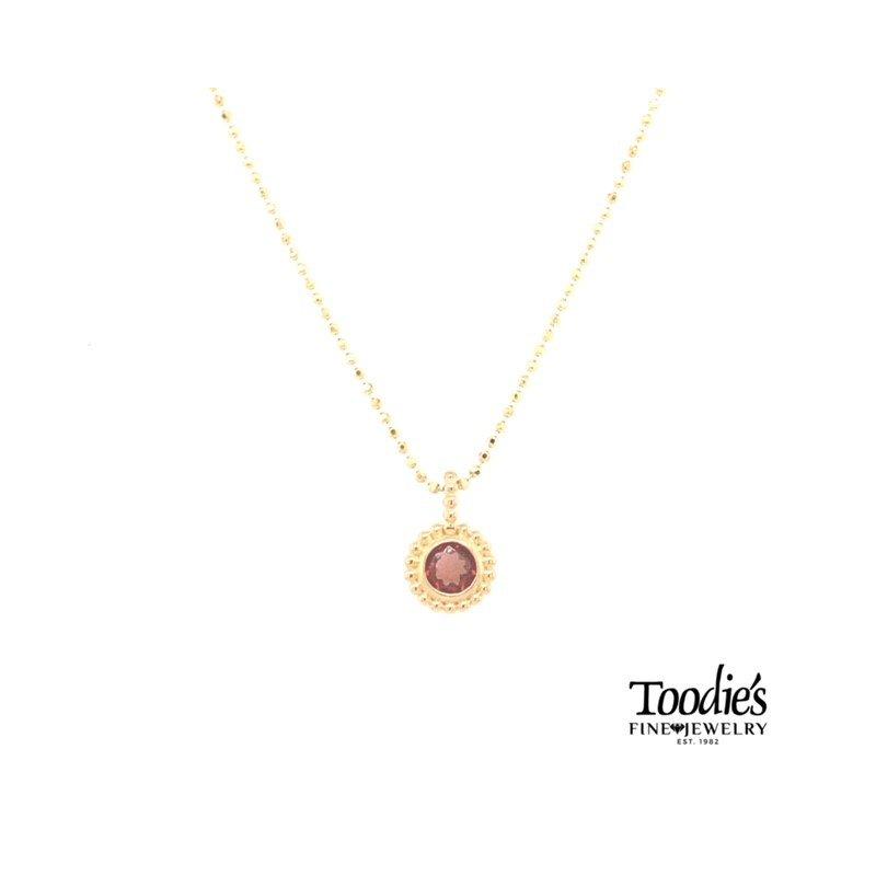Phillip Gavriel Yellow Gold Garnet Necklace