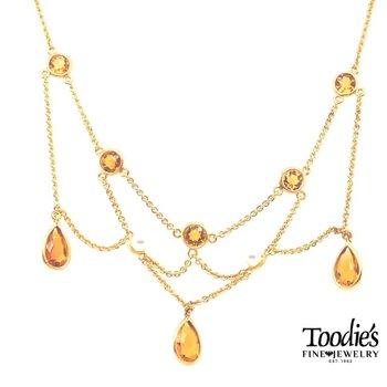 Vintage Citrine Chandelier Necklace