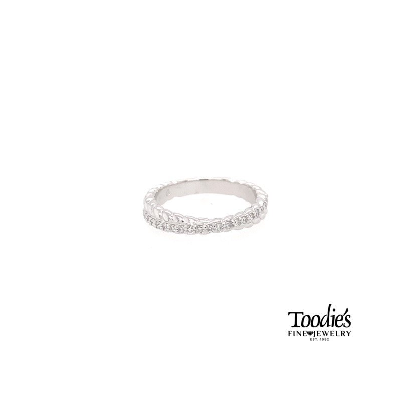 Toodie's Signature Fashion White Gold Criss Cross Rope Design Diamond Band