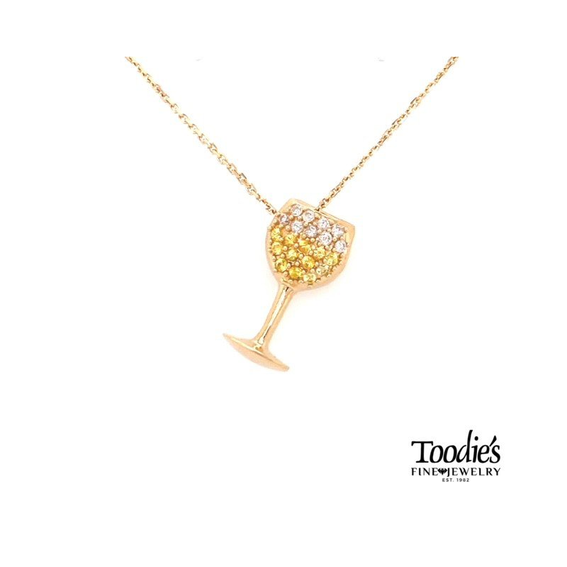 Toodie's Signature Fashion White Wine Diamond and Yellow Sapphire Necklace