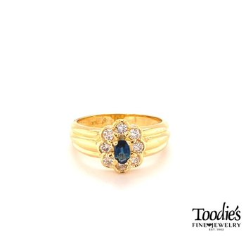 Floral Design Sapphire and Diamond Halo Ring