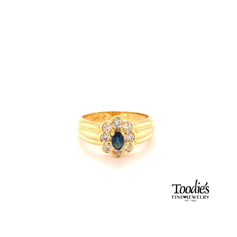 Toodie's Signature Fashion Floral Design Sapphire and Diamond Halo Ring