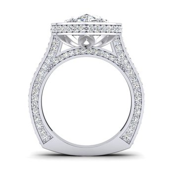 OMG Series Milgrain Design Pear Shaped Diamond Engagement Ring