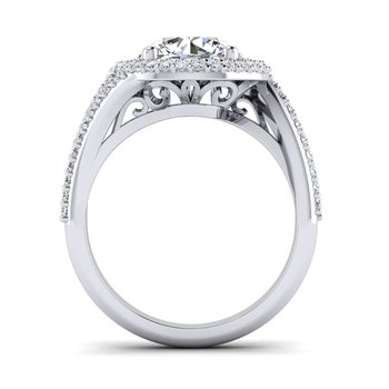 OMG Series Bypass Style Diamond Round Halo Engagement Ring