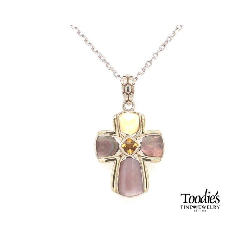 Asch Grossbardt Designs Multicolor Cross Necklace