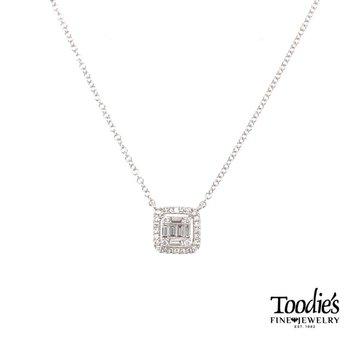 Diamond Cluster Baugette Style Pendant