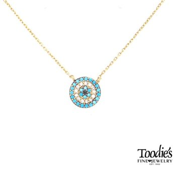 Turquoise And Diamond Disc Pendant