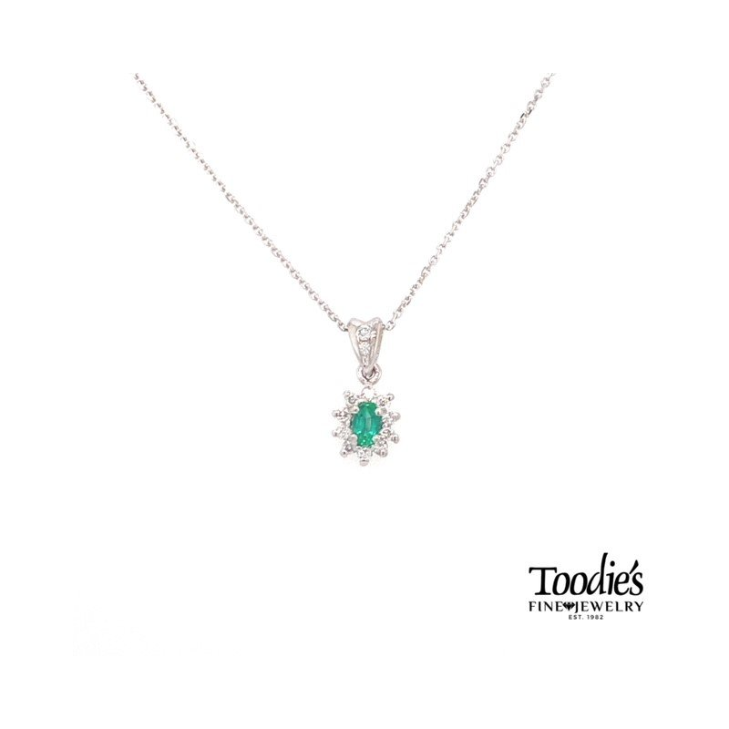 Toodie's Signature Fashion White Gold Emerald And Diamond Necklace