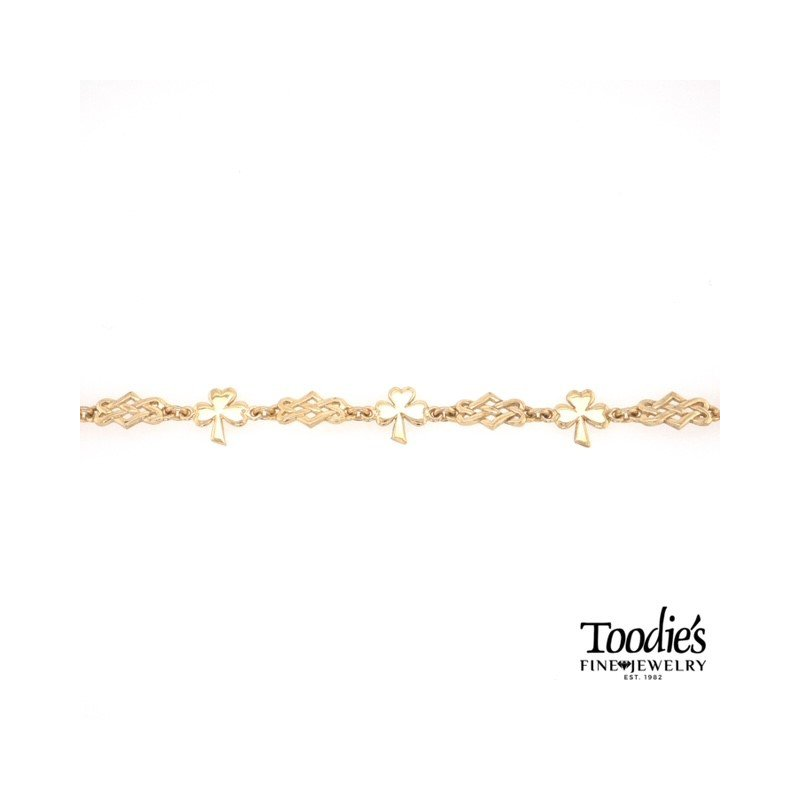 Toodie's Signature Fashion Yellow Gold Shamrock And Celtic Bracelet