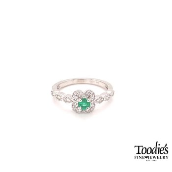 Emerald And Diamond Pave And Milgrain Ring