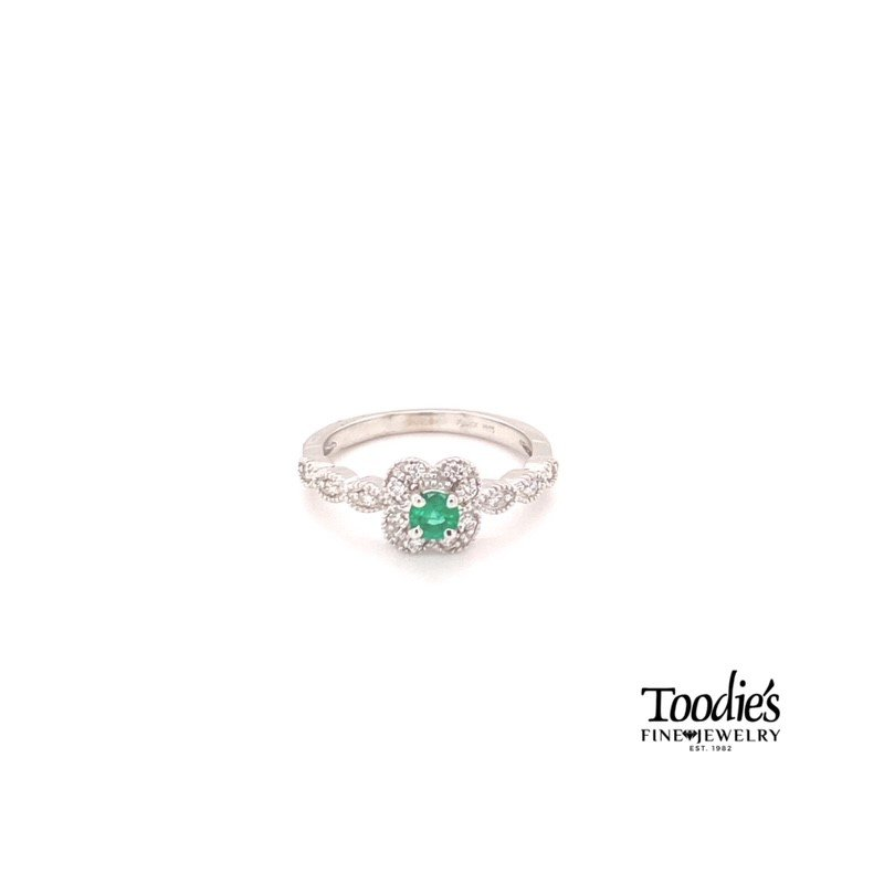 Toodie's Signature Fashion Emerald And Diamond Pave And Milgrain Ring