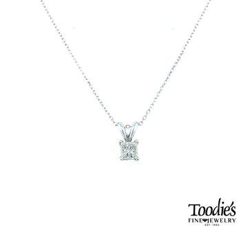 Princess Cut Diamond Solitaire Necklace
