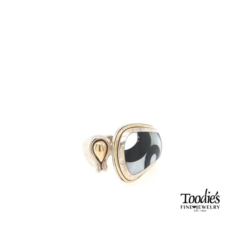 Asch Grossbardt Designs Black Onxy With White Mother Of Pearl Inlaid Style Ring