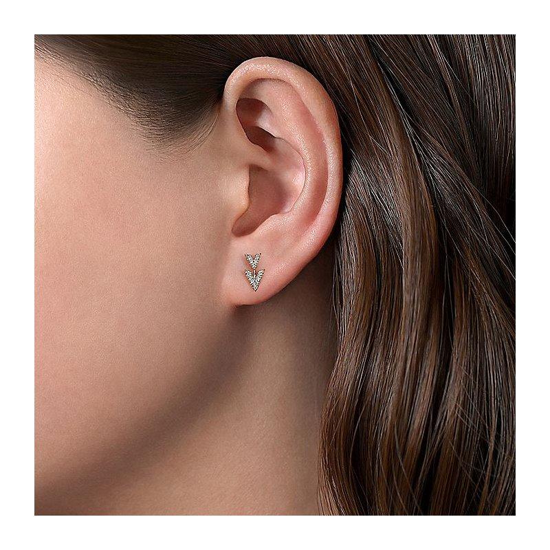 Gabriel Fashion Diamond Pave Double Chevron Earrings