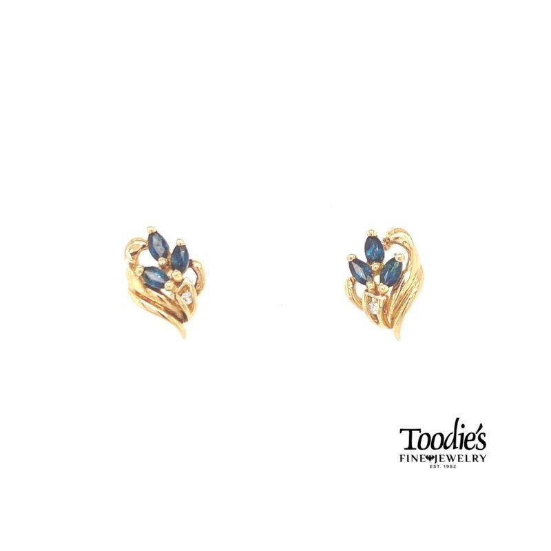 Toodie's Signature Fashion Blue Sapphire And Diamond Earrings