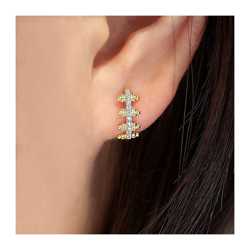 Gabriel Fashion Diamond Pave Huggie Earrings