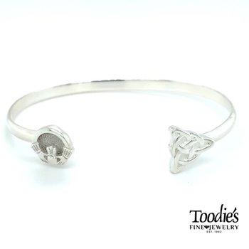 Claddaugh And Celtic Knot Bangle Bracelet