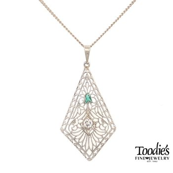 Antique Art Deco Diamond and Emerald Filigree Necklace
