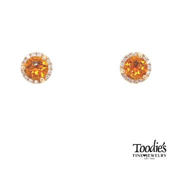 Citrene And Diamond Halo Earrings