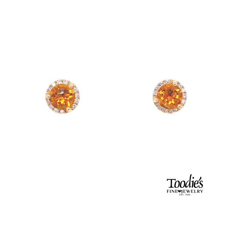 Toodie's Signature Fashion Citrene And Diamond Halo Earrings