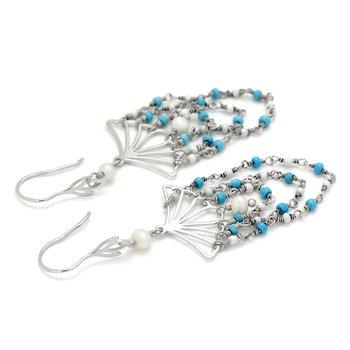 Turquoise And Pearl Fan Earrings