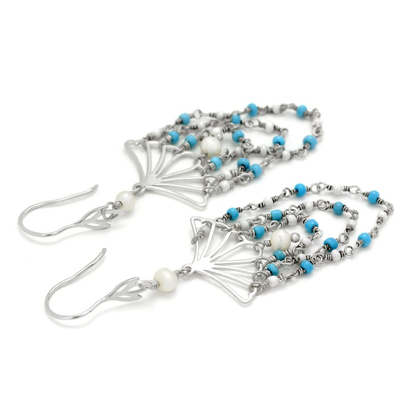 Elisa Ilana Turquoise And Pearl Fan Earrings