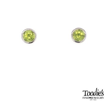 Sterling Silver with Peridot Studded Earrings