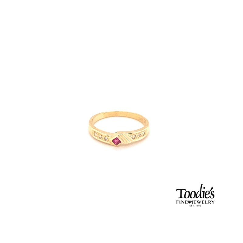 Toodie's Signature Fashion Square Ruby And Diamond Ring