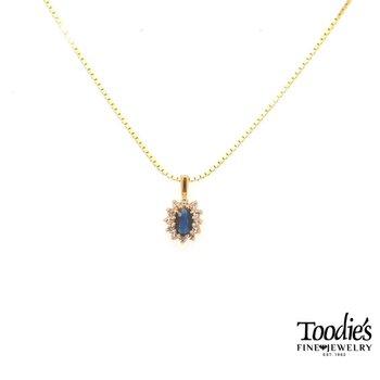 Vintage Blue Sapphire and Diamond Cocktail Pendant