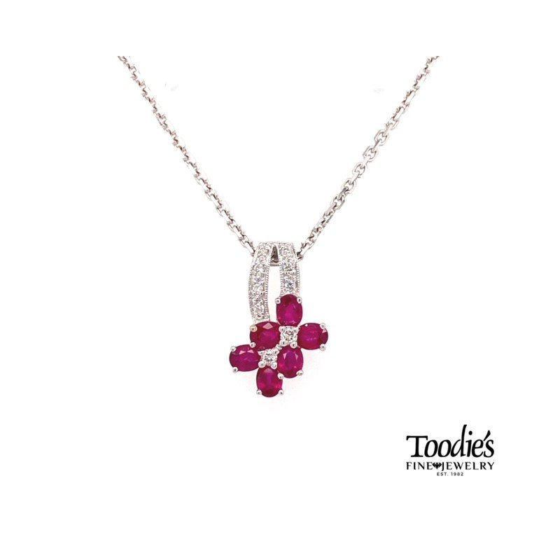 Toodie's Signature Fashion White Gold Ruby And Diamond Necklace
