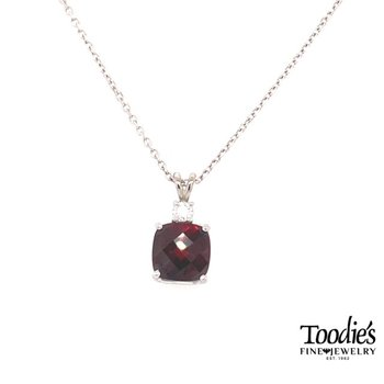 White Gold Garnet And Diamond Pendant