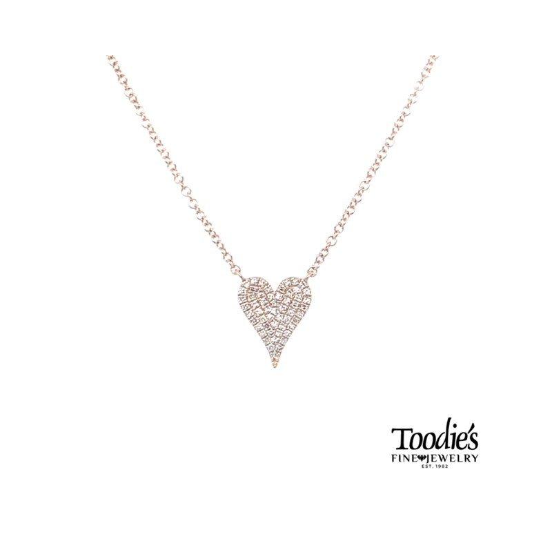 Shy Creation Pave Diamond Heart Necklace