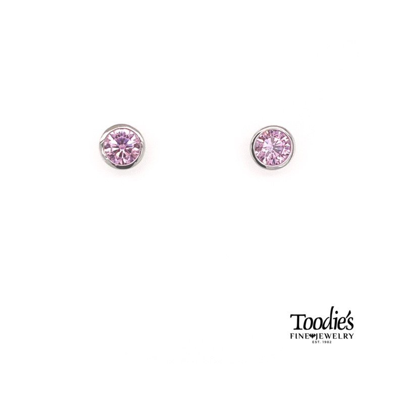 Gabriel Fashion Sterling Silver with Pink Zircon Studded Earrings