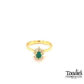 Emerald And Diamond Halo Style Ring
