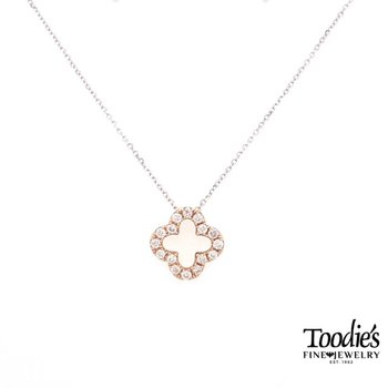 Rose Gold Diamond Clover Design Pendant