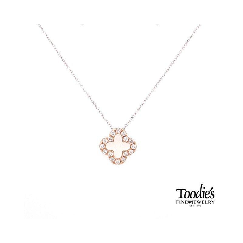 Toodie's Signature Fashion Rose Gold Diamond Clover Design Pendant