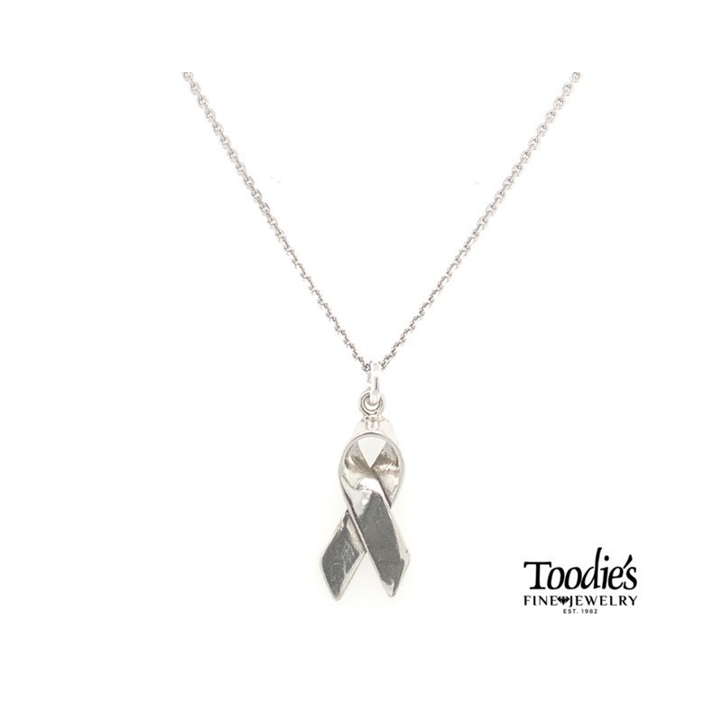 Toodie's Signature Fashion Sterling Breast Cancer Awareness Ribbon Necklace
