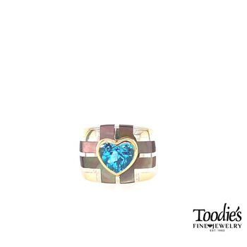 Blue Topaz And Grey Mother Of Pearl Inlaid Ring