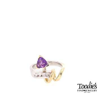 Trillion Amethyst Swirl Ring