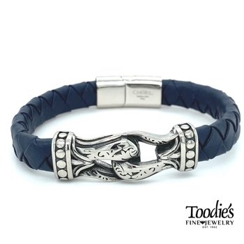 Blue Leather and Stainless Steel Bracelet