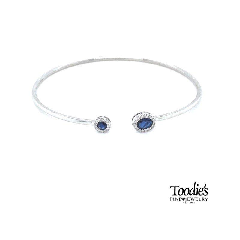 Toodie's Signature Fashion White Gold Sapphire and Diamond Bangle Bracelet