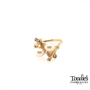 Vintage Pearl and Diamond Vine Ring